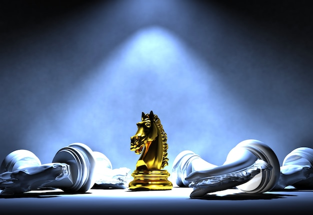 Gouden schaakridder die zich op het centrum van schijnwerper onder witte schaakridder bevindt die d valt