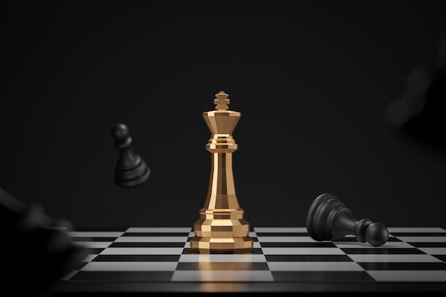 Gouden schaakstuk op donkere muur met winnaar of overwinningsconcept. koning van schaak- en wedstrijdideeën. 3d-weergave.