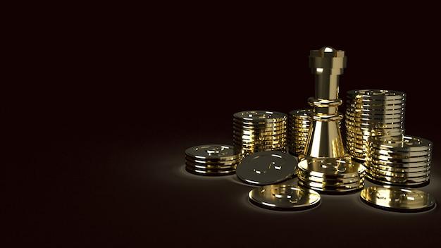 Gouden schaken en munten abstract beeld 3d-rendering voor zakelijke inhoud
