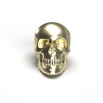 Gouden schedel chroom op wit geïsoleerd