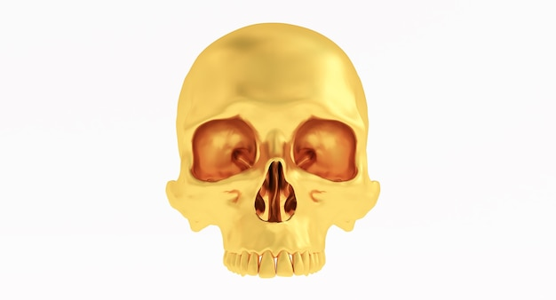Gouden skull and crossbones geïsoleerd op een witte achtergrond.