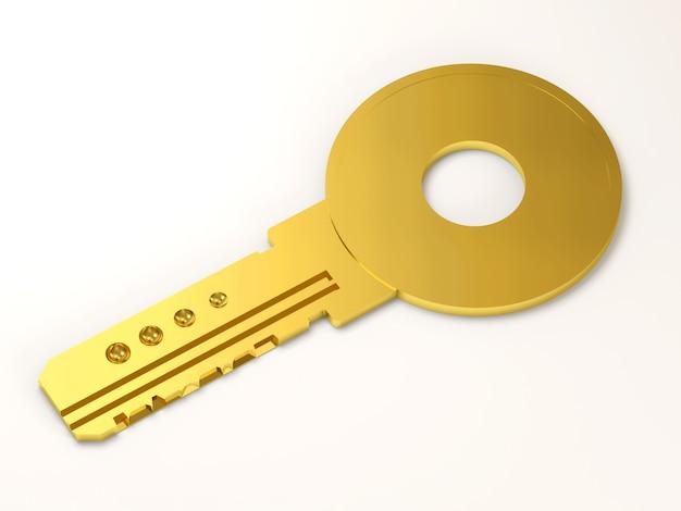Gouden sleutel geïsoleerd op wit