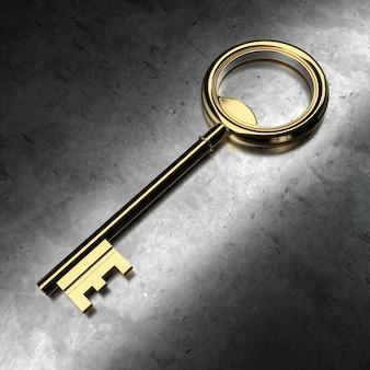 Gouden sleutel op zwarte metalen achtergrond. 3d-rendering