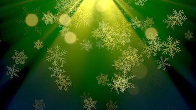 Gouden sneeuwvlokken en abstracte glitterdeeltjes die op glanzende achtergrond vallen. luxe en elegante dynamische stijl 3d illustratie voor wintervakantie