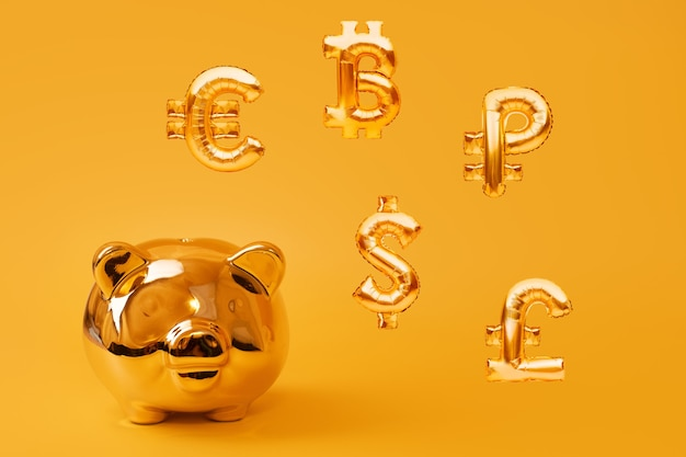 Gouden spaarvarken op gele achtergrond met gouden valutasymbolen gemaakt van opblaasbare folie ballonnen. investeringen en bankwezenconcept. geld besparen, spaarpot, financiën, investeringen.