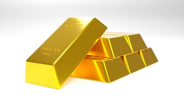 Gouden staaf en gouden muntstuk voor zaken., het 3d teruggeven.