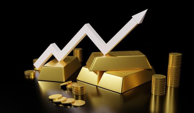 Gouden staaf en gouden muntstuk voor zaken, het 3d teruggeven.