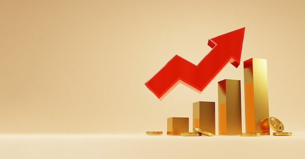 Gouden staafdiagram met rode stijgende pijl en gouden munten op gele achtergrond, bedrijfsinvesteringen en economische groeiconcept door 3d-renderingtechniek.