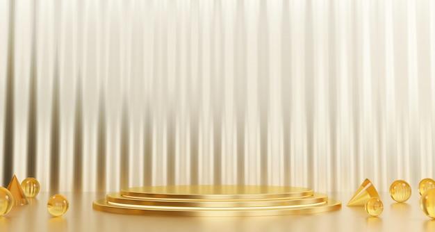 Gouden standaardsjabloon voor productreclame en commerciële, 3d-rendering.