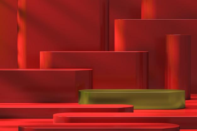 Gouden stap geplakt in het midden van de rode biefstuk. minimaal mockup gouden podium en rode achtergrondstap voor productpresentatie, 3d-rendering
