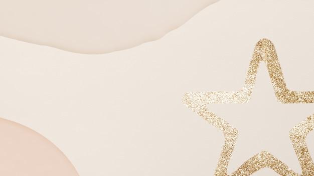 Gouden ster beige toon achtergrond