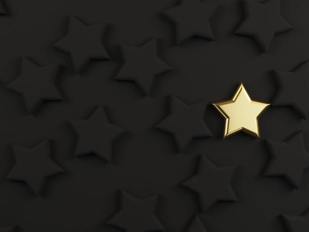 Gouden ster onder zwarte sterren op donkere achtergrond voor ander denkend idee of uitstekend prestatieconcept door 3d-rendering.