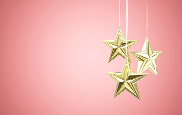 Gouden ster speelgoed opknoping op roze studio achtergrond