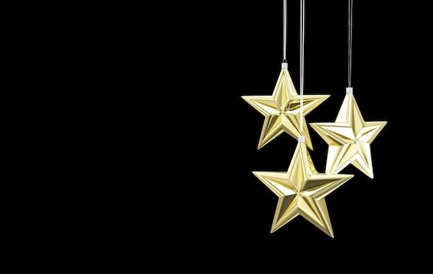 Gouden ster speelgoed opknoping op zwarte achtergrond