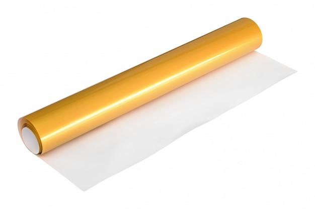 Gouden stickerbroodje dat op witte achtergrond wordt geïsoleerd. geschenkdoos papier.