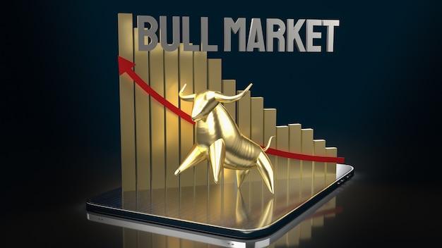 Gouden stier op tablet voor het 3d teruggeven van bedrijfsinhoud