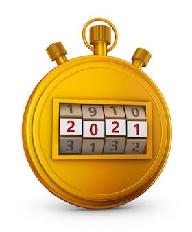 Gouden stopwatch met een cijferslot met 2021. 3d render.