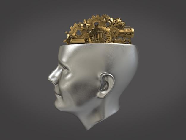 Gouden tandwielen en machine deel in vorm van hersenen op menselijk hoofd, intelligentie werk concept, abstracte hersenen. 3d-rendering