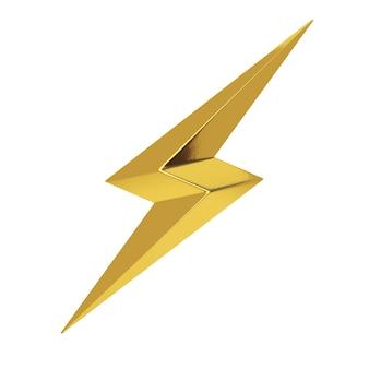 Gouden thunderbolt verlichting pictogram op een witte achtergrond. 3d-rendering