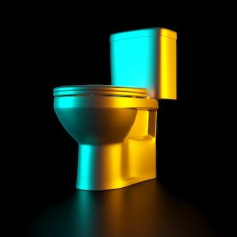 Gouden toiletkom op een zwarte achtergrond.