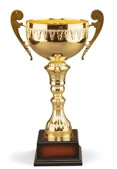 Gouden trofee beker, geïsoleerd op wit