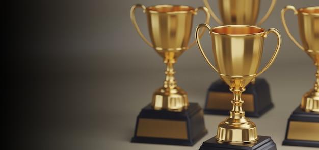 Gouden trofee-onderscheiding met kopie ruimte.