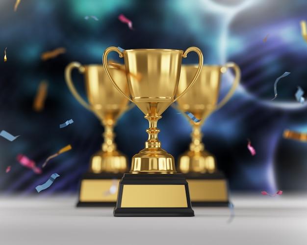 Gouden trofee-onderscheiding op donkerblauwe achtergrond.
