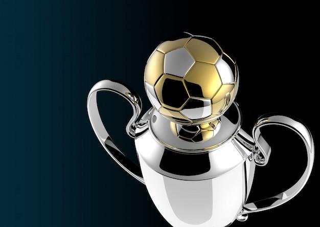 Gouden trofee van het voetbal op zwarte