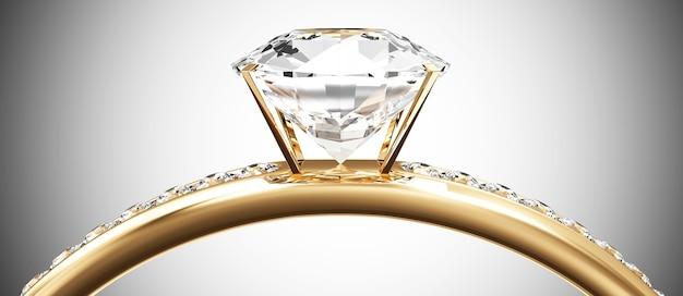 Gouden trouwring met diamanten op verloop achtergrond