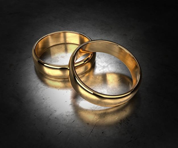 Gouden trouwringen concept. 3d-rendering
