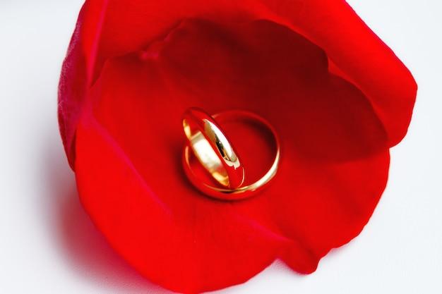 Gouden trouwringen op rood roze bloemblaadje