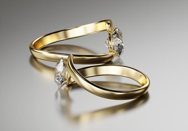 Gouden twee diamanten ring geplaatst