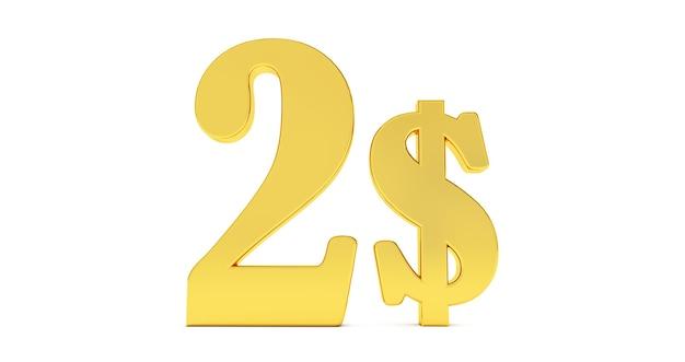 Gouden twee dollar teken geïsoleerd