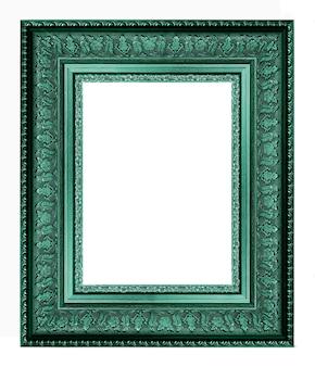 Gouden uitstekend beeld en fotokader dat op witte achtergrond wordt geïsoleerd
