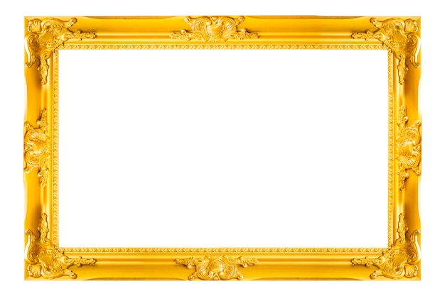 Gouden uitstekend beeld en fotokader dat op witte achtergrond wordt geïsoleerd.