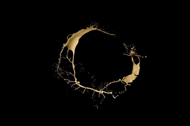 Gouden verfplons die op zwarte achtergrond wordt geïsoleerd.