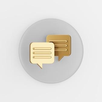 Gouden vierkante spraak bubbels pictogram. 3d-rendering grijze ronde sleutelknop, interface ui ux-element.