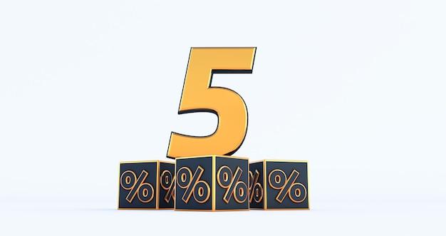 Gouden vijf 5 procent nummer met zwarte kubussen percentages geïsoleerd op een witte achtergrond. 3d render