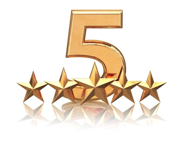 Gouden vijf sterren. servicebeoordeling van hotels. 3d