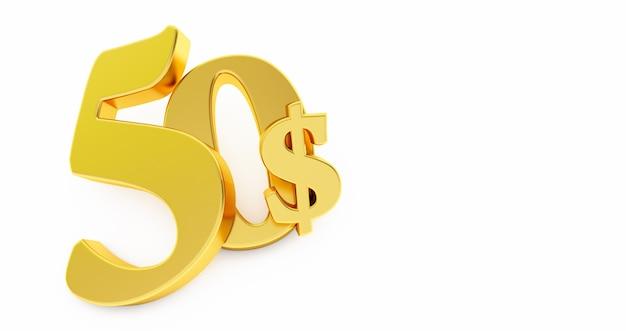 Gouden vijftig dollar teken geïsoleerd