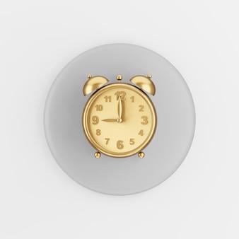 Gouden vintage wekkerpictogram. 3d-rendering grijze ronde sleutelknop, interface ui ux-element.
