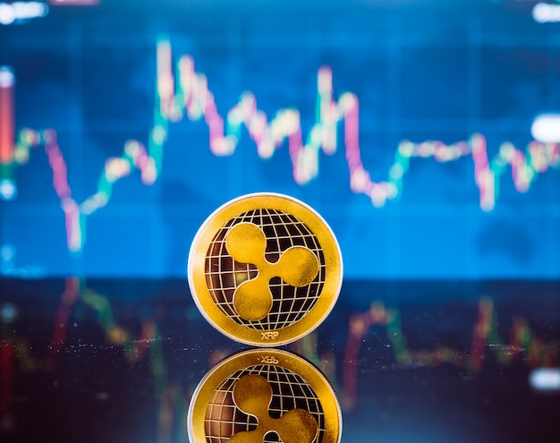 Gouden virtuele munt en geldvaluta op digitale kaarsstokgrafiek