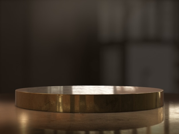Gouden voetstuk achtergrond, platform voor ontwerp, lege productstandaard. 3d-rendering.