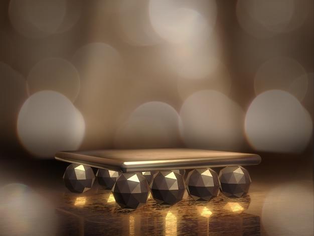 Gouden voetstuk voor weergave, platform voor ontwerp, lege productstandaard. 3d-weergave.