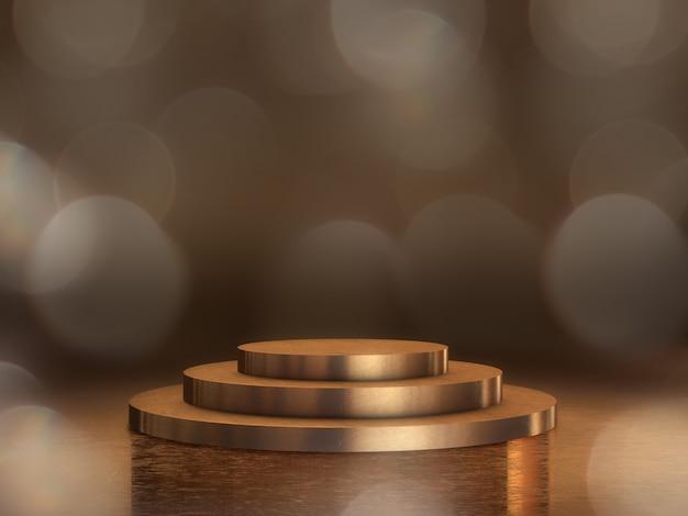 Gouden voetstuk voor weergave, platform voor ontwerp, lege productstandaard met bokeh-achtergrond. 3d-weergave