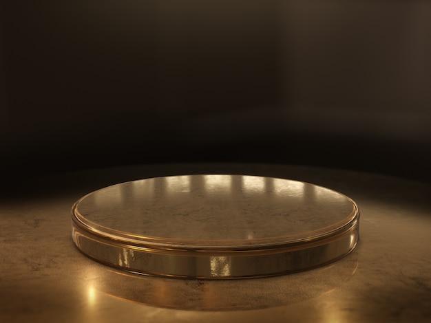 Gouden voetstukplatform voor ontwerp, lege productstandaard. 3d-weergave.
