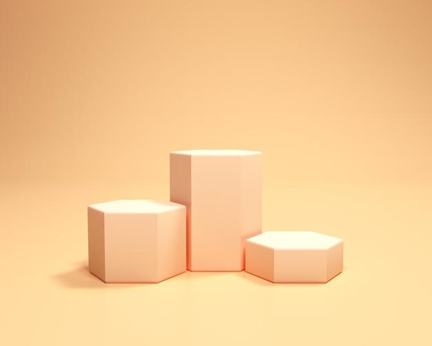 Gouden voetstukpodium op oranje achtergrond. 3d render illustratie