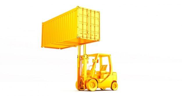 Gouden vorkheftruck met container op pallet die op witte achtergrond is ontsproten