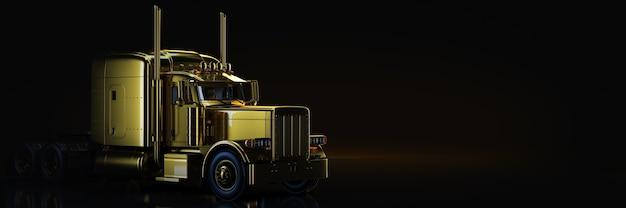 Gouden vrachtwagen in zwarte achtergrond 3d-rendering