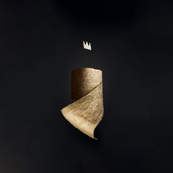 Gouden wc-papier met een kroon op een zwarte muur